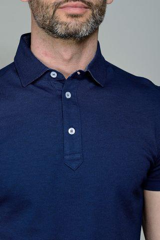 navy pique polo lisle cotton Angelico
