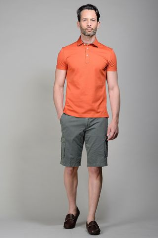 Brick pique polo lisle cotton Angelico