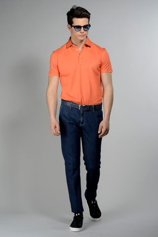 orange pique polo lisle cotton Angelico