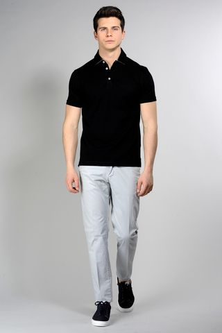 Black pique polo lisle cotton Angelico