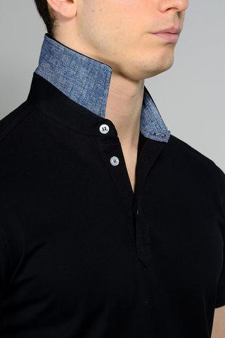 black pique polo lisle cotton Angelico