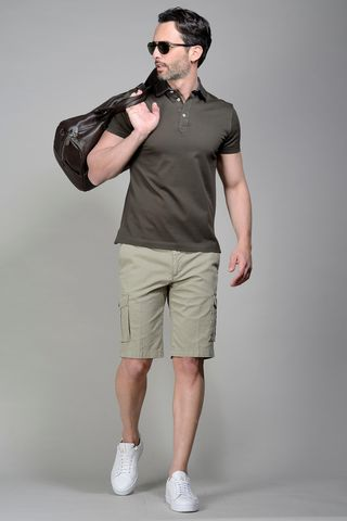 Brown pique polo lisle cotton Angelico