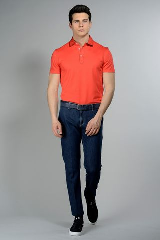 coral pique polo lisle cotton Angelico