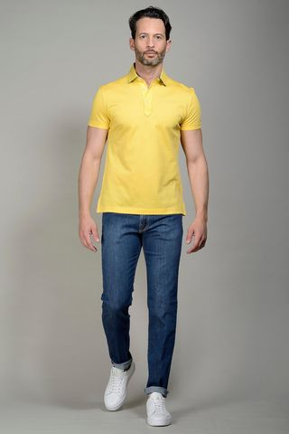 Yellow pique polo lisle cotton Angelico