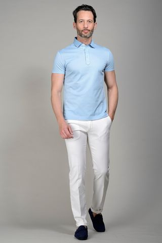 Light blue pique polo lisle cotton Angelico