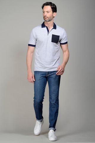 Grey pique polo navy pocket Angelico