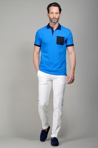 Light blue pique polo navy pocket Angelico