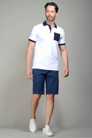 White pique polo navy pocket Angelico