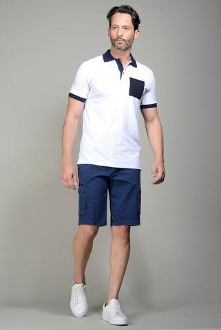 white pique polo navy pocket Angelico