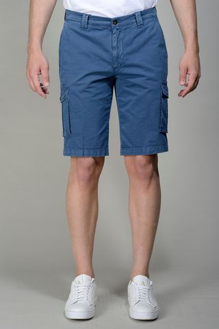 avio blue bermuda shorts side pockets Angelico