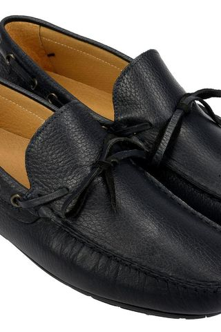 Navy leather car shoes