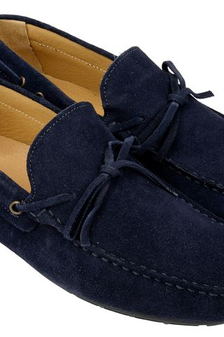 Blue suede car shoes