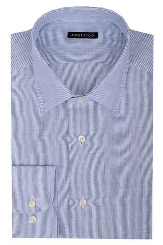 Blue pinstriped linen shirt Angelico