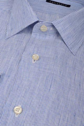 Camicia blu millerighe lino Angelico
