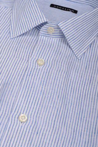 camicia bianca blu rigata lino Angelico