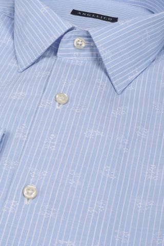 light blue shirt white stripes and print Angelico