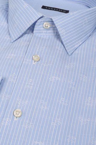 camicia azzurra riga bianca e stampa Angelico