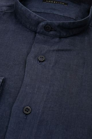 navy korean linen shirt