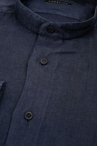 camicia coreana blu lino Angelico