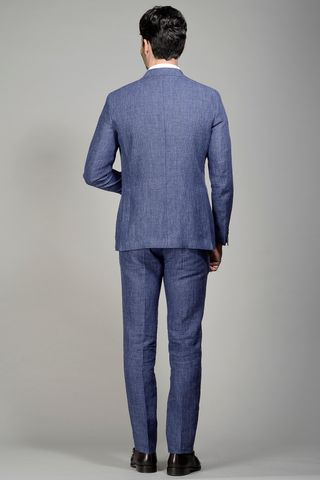 blue suit linen slim Angelico