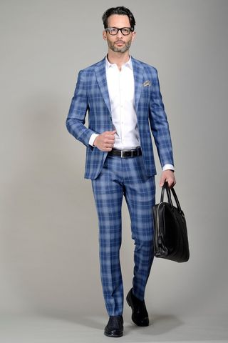 Light blue suit Prince of Wales slim Angelico