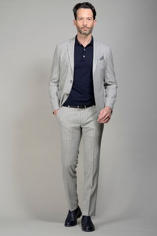 Pearl grey suit pinstripe slim Angelico