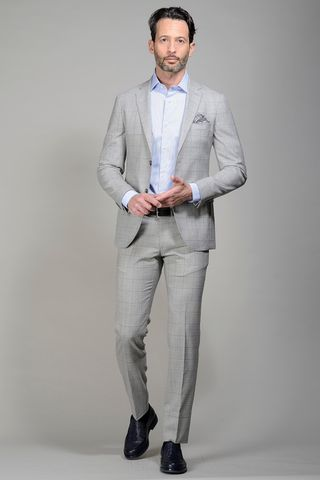 Pearl grey suit checkered slim Angelico