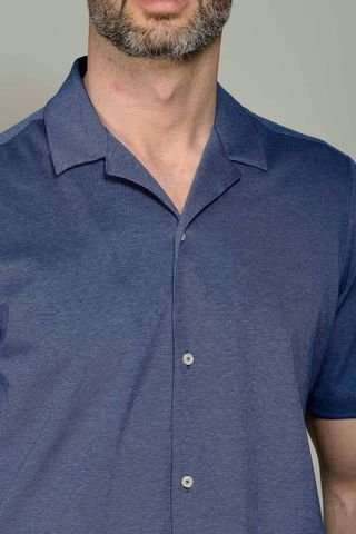 camicia mezza manica blu pique Angelico