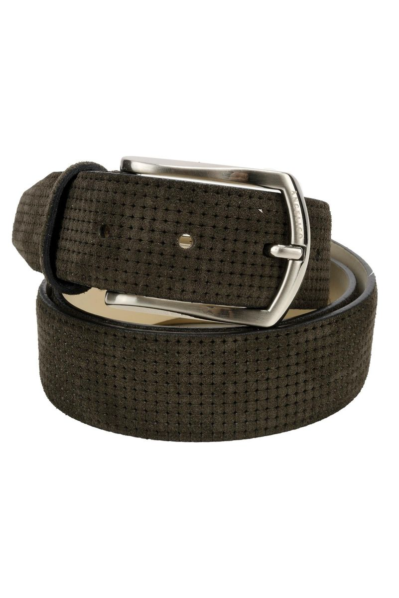 daf051fb18 Angelico Brown suede belt printed, belts for men, made of leather, brown
