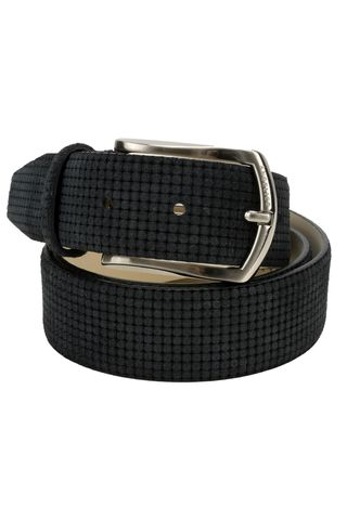 Navy suede belt printed