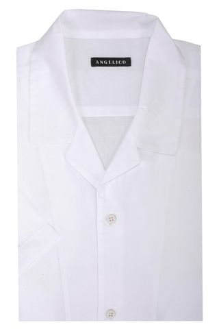 White bowling shirt short sleeves Angelico