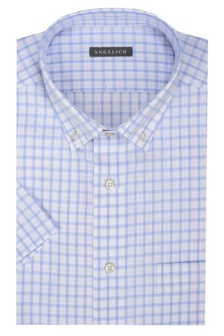 White short sleeves shirt azure check BD Angelico