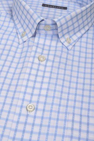 camicia maniche corte quadro bianco azzurro bd Angelico