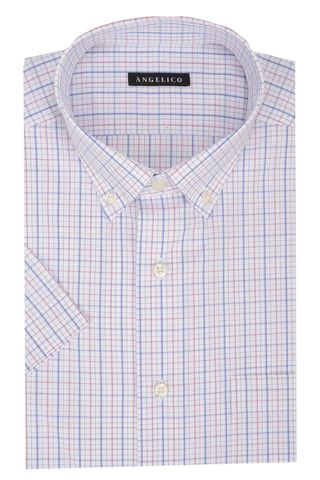White-pink checkered short sleeves shirt BD Angelico