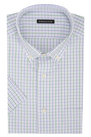 White-green checkered short sleeves shirt BD Angelico