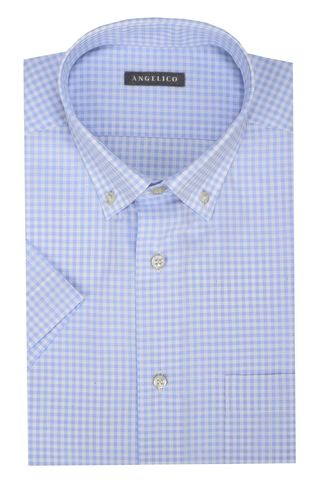 light blue checkered short sleeves shirt bd Angelico