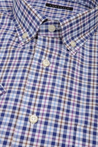 blue short sleeves shirt checkered bd Angelico