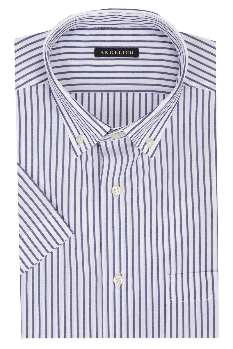 camicia maniche corte riga blu bd Angelico