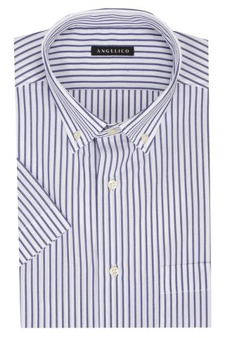 White short sleeves shirt blue stripes Bd Angelico