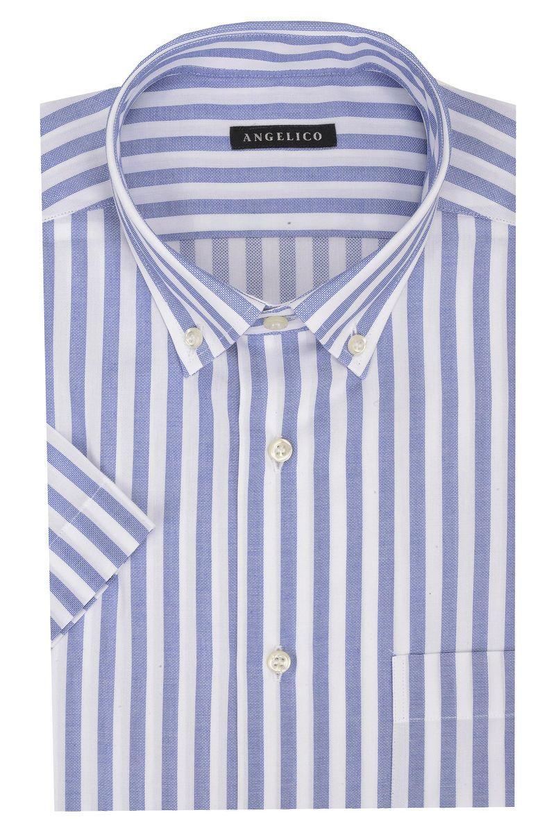 camicia maniche corte riga bluette bd Angelico