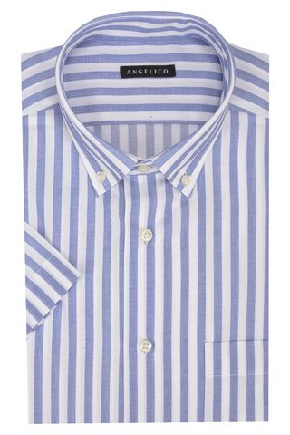 white-blue striped shirt short sleeves bd Angelico