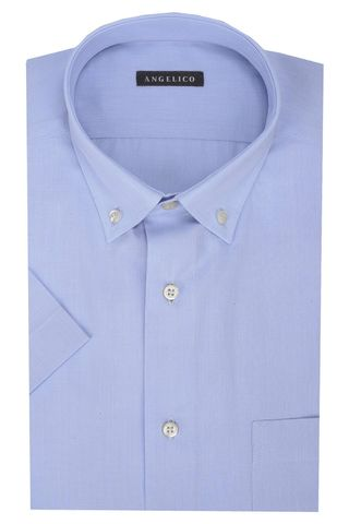 light blue filafil shirt short sleeves bd Angelico