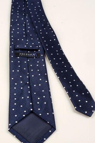 navy tie white medium polka dots Angelico