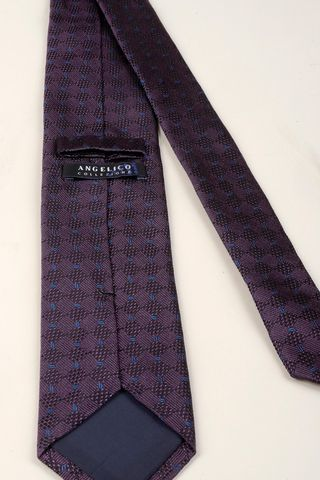 violet silk tie and blue patterns Angelico