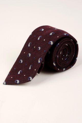 cravatta melanzana gocce bianche lana-seta Angelico