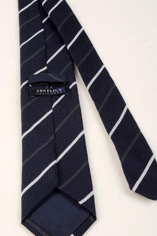 cravatta blu-perla regimental lana-seta Angelico
