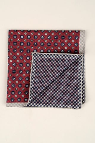 red-blue pocket square flowers vichy Angelico