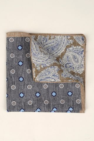 grey-beige pocket square flowers-paisley Angelico