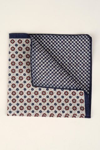 grey-blue- pocket square red flowers vichy Angelico