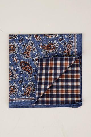pochette bluette-arancio paisley quadri double. Angelico